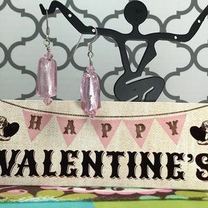 925 Sterling Pink Foil Glass Bead Earrings